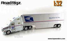 Toy Trucks and Trailers | ... Tractor Trailer Mail Truck (1/32 scale diecast model car, White) 91491