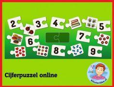 Cijferpuzzel voor kleuters  op digibord of computer, counting puzzle for IBW or computer, kleuteridee