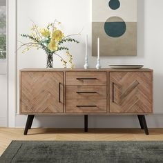 Store your extra dinnerware, flatware, and table linens in a buffet table or sideboard. Shop our great selection of stylish buffet tables and sideboards. Dining Buffet, Wood Buffet, Buffet Tables, Buffet Table Ideas Decor Dining Rooms, Modern Buffet Table, Kitchen Dining, Sideboard Decor, Credenza, Retro Sideboard