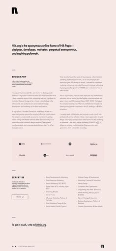 Lovely minimal One Pager with resume-style for NY based digital marketer, Nik Papic.