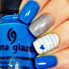 uñas-decoradas-azules Nail Polish, Make Up, Nail Art, Nails, Glaze, Beauty, Halloween, Videos, Flower