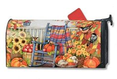 Magnet Works Mailwraps Mailbox Cover - Autumn Porch Design Magnetic Mailbox C Mailbox Accessories, Magnetic Mailbox Covers, Painted Mailboxes, Rocking Chair Porch, Garden Flag Stand, Evergreen Flags, Chair Makeover, Flag Decor, Painted Rocks