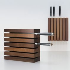 Shop for Wusthof - Magnetic Thermo Beech Knife Block at Panik Design. A licensed Wusthof retailer, the UK's largest independent stockist of design. Wood Projects, Woodworking Projects, Knife Storage, Knife Holder, Wooden Kitchen, Wood Design, Knife Block, Kitchen Knives, Wood Crafts