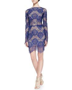 For Love & Lemons Grace Crocheted Lace Mini Skirt, Sapphire