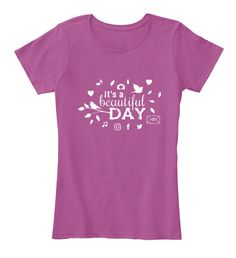 It's A Beautiful Day Heathered Pink Raspberry T-Shirt Front
