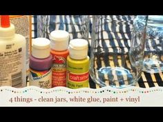 ▶ Painted Glass Jar Lanterns - YouTube #vinyllettering #livealifeinspired