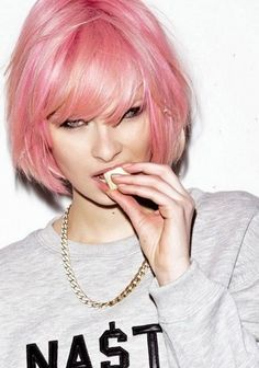 Short Pastel Pink Hairstyle with Bangs- Short hairstyles for fine hair