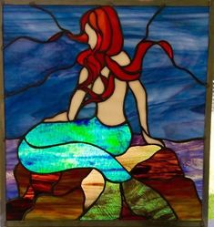 Pam Coppola Mermaid on the Rocks Stained Glass Window Stained Glass Tattoo, Stained Glass Light, Stained Glass Panels, Leaded Glass, Broken Glass Art, Sea Glass Art, Mosaic Glass, Stained Glass Projects, Stained Glass Patterns