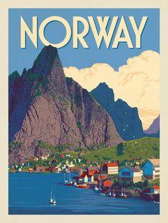Anderson Design Group – World Travel – Norway Illustrations Vintage, Tourism Poster, Photo Vintage, Vintage Ski, Travel Illustration, Photo Wall Collage, Cool Posters, Vintage Travel Posters, Travel Pictures