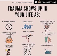 I can relate to 7 out of 9 of these and will be discussing them later today with How many can you relate to? with ・・・ Sometimes signs of trauma can be difficult to catch. Here are some less-obvious signs of how trauma can impact your day-to-day life. Mental And Emotional Health, Mental Health Matters, Mental Health Awareness, Trauma Therapy, Stress Disorders, Self Care Activities, Psychology Facts, Emotional Intelligence, Motivation