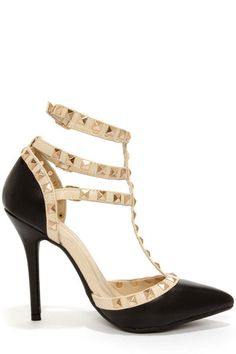 Love You Madly Studded T-Strap Pointed Heels - Black RESTOCKED!   Daily Chic