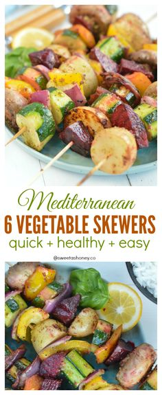 The BEST recipe to reach your day this summer! Those Vegetable Skewers contains 6 vegetables and a delicious Mediterranean marinade ready in 5 minutes! Mediterranean Vegetables Recipe, Greek Vegetables, Grilled Vegetables, Mediterranean Dishes, Veggies, Healthy Vegetable Recipes, Vegetarian Recipes, Vegetarian Skewers, Paleo Food