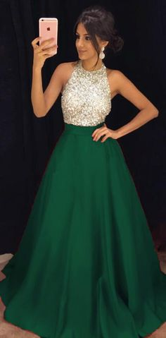 Beading Prom Dress,Long Prom Dress,Green A-line Prom Dresses,Cheap Prom Dress, Evening Dresses, Formal Dresses, Graduation Party Dresses, Banquet Gown