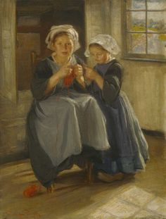 Funk, Wilhelm (b. 1886) knitting lesson   In 1903 the artist returned to Europe where he painted this work of two Breton girls. They are wearing the distinctive while headdress or ailes while the little girl is wearing the local clogs or sabots. Images of rural figures in a home setting such as this were painted by a large number of artists at the turn of the century.