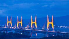 【Pinterestで新しい写真上げたよ♪】  岡山県 瀬戸大橋ライトアップ 日没直後の青みが残る空と瀬戸大橋のライトアップは素晴らしい光景です!