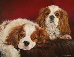 Cavalier King Charles Spaniels - oil painting -- JEANNE ILLENYE