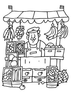 kleurplaat markt Colouring Pages, Coloring Pages For Kids, Coloring Sheets, Coloring Books, Drawing Lessons For Kids, Art Drawings For Kids, Preschool Art, Preschool Activities, Kindergarten Art Lessons