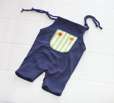 Orange You a Cutie - newborn romper shortalls in navy blue, lime green, orange…