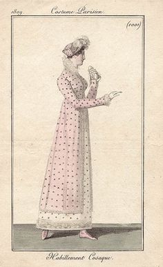 1809 Habillement Cosaque #1001 - Regency polka dots!  @ DanineCozzens - is it polka dots or that raised dot like the man's banyan at the V?
