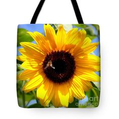 Cheerful Sunflower with Bee Tote Bag by Carol Groenen #sunflowers #floraltotebags #totebags
