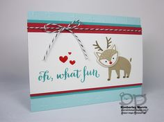 procrastistamper: a stepped up version of a Christmas in July card project featuring the Foxy Friends stamp set and Fox Builder Punch. Click through for links to other Step It Up Blog Hop projects :-D