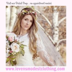 Beautiful Gowns for the modest bride can be found every day at Leven's in Historic Downtown Logan, Utah. No appointment needed to try on wedding dresses.  We also have Bridesmaid Dresses, Mother's Dresses, Suits and Tuxes for the Groom and wedding party.  All of your Wedding needs under one roof.  Make it easy on yourself and shop local, shop Leven's!