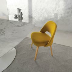 Eero Saarinen Executive Armless Chair Yellow with Marble Pedestal Table Knoll