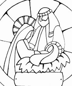 Jesus Mary and Joseph Holy Family vector graphics Christmas Rock, Christmas Nativity Scene, Christmas Colors, Christmas Ornaments, Nativity Scenes, Stained Glass Quilt, Stained Glass Patterns, Christmas Templates, Christmas Printables