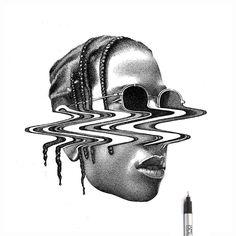 Pencil Art Drawings, Cool Art Drawings, Art Drawings Sketches, Sketch Art, Black And White Sketches, Black And White Illustration, Stippling Drawing, Tatoo 3d, Dark Tattoo