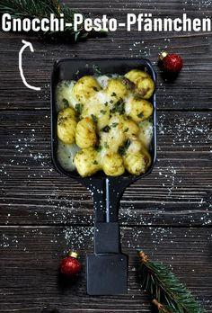 Pesto Gnocchi aus dem Raclette Pfännchen, ganz einfach vorzubereiten, leckere vegetarische Alternative
