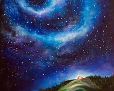 Night Sky Landscape Painting Tent Under Stars by kathrynbeals