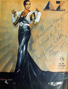 """Josephine Baker on the cover of AZ Magazine, October 1933. by Black History Album on Flickr. Given the nicknames """"Black Venus,"""" """"Black Pearl,""""""""Creole Goddess,"""" as well as """"La Baker"""" in her adopted country of France, Josephine Baker (1906-1975), was known as the """"It girl who danced her way through the 20's and 30's only dressed in bananas"""". A dancer, singer, actress and a comedian all in one, Josephine Baker was is noted for being the first woman of African descent to star in a major motion…"""