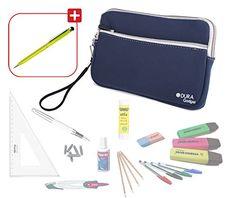 Trousse scolaire en bleu / fourre-tout résistant pour vos stylos et affaires d'école + stylo bille vert pomme – antidéchirure et lavable en…