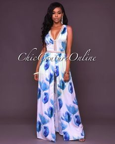 27a7749e1e42 Londyn Ivory Blue Floral Open Front Romper Maxi Dress Stylish Outfits