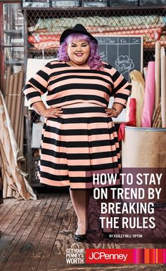 """People have been telling plus size girls like Ashley Nell Tipton what they can and cannot wear their entire lives. No horizontal stripes. No crop tops. Here's what Ashley had to say about that: """"Be a rule breaker and break two rules in one outfit – because who said you can't?"""" Let your inner bad girl out by rocking horizontal stripes and a crop top. The lines are bold. The crop top is sexy. The look is flawless. Breaking the rules has never felt more right!"""