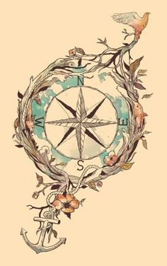Compass tattoo. LOVE this, without the bird or anchor. Maybe with succulents behind and a banner across the bottom?