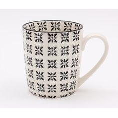 The Malo range of ceramics offers a collection of high quality stoneware items that are all dishwasher and microwave. Each item is hand decorated and this design offers a black tile repeat pattern outside and on the inner rim of the mugs.