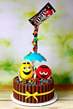 M&ms gravity defying cake