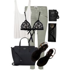 Festival & concert style by beatifuletopshop on Polyvore featuring The Row, Paige Denim, Hanky Panky, Aquazzura, Kate Spade and Ray-Ban