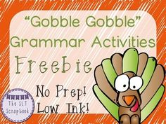 """This Thanksgiving Grammar Pack Freebie contains 8 pages of No Prep, Low Ink activities! 3 x poster pages (blank)- for students to use as """"anchor charts"""" and write examples of each term.  1 x Sort it Out page (blank) 2 x word cards- to be cut up and glued into the right spaces on the 'Sort it Out' worksheet. 1 x plurals  regular nouns fill in the gaps activity 1 x plurals  irregular nouns fill in the gaps activity 4 x Answer pagesAll the worksheets are ready to just print and go!"""