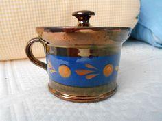 """Antique Copper Luster Lustre Ware Mustard Pot Blue Band Ocher Spot 2 3/4"""" Tall"""