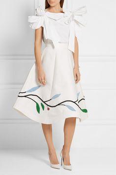 Vika Gazinskaya | Bow-embellished cotton-poplin top | NET-A-PORTER.COM
