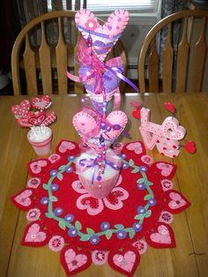 felt valentine centerpiece