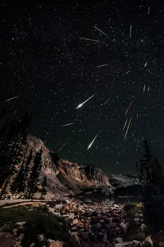This is a view of the Perseid meteor shower as seen from Snow Range in Wyoming. Photo captured by David Kingham. Wyoming, Beautiful World, Beautiful Places, Landscape Photography, Nature Photography, Cool Pictures, Cool Photos, Random Pictures, Digital Foto
