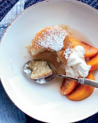 Peach Shortcake with Vanilla Whipped Cream    Tim Love's shortcake reflects his easygoing style: Instead of making individual biscuits or multiple layers, he simply pours the batter into a 9-by-13-inch baking pan. For smaller cakes, bake the batter in 24 muffin tins.