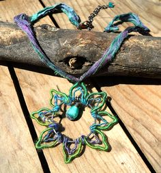 Heady wire wrapped pendant lotus flower yoga necklace with rustic lampwork on sari ribbon by Genea Crivello of Third Eye Gypsy Lotus Necklace, Mermaid Necklace, Burning Man Fashion, Head Pins, Wire Wrapped Pendant, Teal Green, Lampwork Beads, Artisan Jewelry, Third Eye