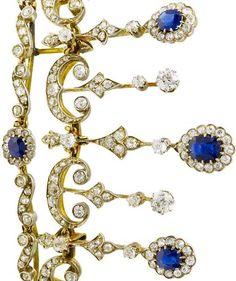A late 19th century sapphire and diamond tiara/necklace combination, circa 1890…