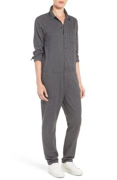 Does this not remind you of a prison outfit or a mechanics jumpsuit? Treasure&Bond Heathered Cotton Boiler Jumpsuit available at Mechanic Jumpsuit, Prison Jumpsuit, Prison Outfit, Boiler, Normcore, Nordstrom, Lady, Sleeves, How To Wear
