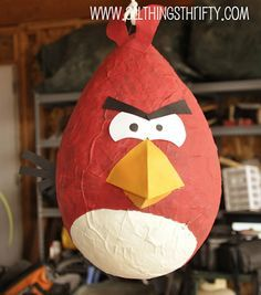 Angry birds piñata with a balloon