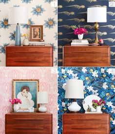 1 Dresser styled 4 different Ways - Emily Henderson Diy Interior, Interior Styling, Interior Decorating, Interior Design, Dresser Styling, Mantle Styling, White Backdrop, Beautiful Wall, Beautiful Bedrooms